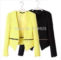 free shipping new Short jackets 2015 women zipper coat autume winter hoodies blazer feminino clothes chaquetas mujer tops