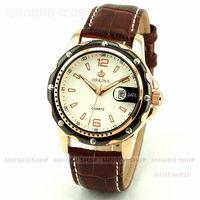 MINGEN SHOP - Luxury Men Analog Sport Black Gold Case White Dial Quartz Date Faux Leather watch Q0651