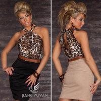 2014 New Fashion Women Sexy Leopard Dress Print Halter Bodycon Bandage Dress Vintage Mini Casual Dress Celebrity Party Dresses