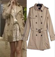 2014 New  Women Fashion double breasted Trench Coat High Quality khaki lady Clothing  overcoat