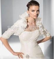 Free shipping! very beautiful Silk Taffeta white half Sleeves Jacket / Wedding Wrap / Bolero Jacket,Wedding Accessory