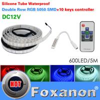 Foxanon Brand 5050 Double Row RGB Led Strip 120LED/M 600LED Lamps DC12V  Waterproof +10key RF Controller Flexible Light 5M/Roll