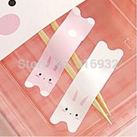 E2 Christmas Valentine's Day pink / white rabbit bunny pvc seal sealing sticker baking package cake box decoration 600pcs/lot