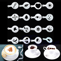 D19 Hot-selling 16Pcs Creative Nice Coffee Barista Stencils Template Strew Pad Duster Spray Art  free shipping