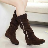2014 free shipping trend autumn  winter scrub PU rubber casual round toe boot scrub medium-leg women's shoes boots