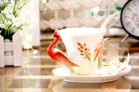 Fashion ceramic Coffee cup Creative enamel Dragon and Phoenix Coffee cup Home decoration Gift