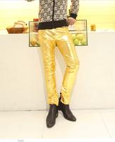 14 new fashion men's sexySlim leather pants nightclub  golden personality Lederhosen male PU trousers M-3XL