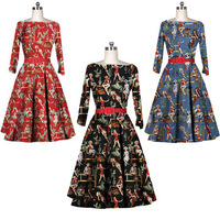 New Womens 3/4 Sleeve Boat Neck Sexy Retro Audrey Hepburn 50s Rockabilly Western Cowgirl Horse Printed Party Swing Dress XS - XL
