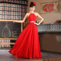 Girls lace dress Eno wedding evening formal dress halter-neck long design bride lovely red new arrival lace dress