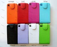 100 pcs/lot   Flip Leather Skin Case Cover for iPhone 4 4S