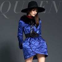 Fashion high quality rose plaid flare sleeve luxurious fur collar slim down outerwear