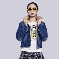 Winter wadded jacket outerwear slim thickening plus velvet denim outerwear cotton-padded jacket female