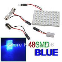 48 SMD LED Panel Car T10 Dome BA9S Festoon Adapter Blue Lamp Light Bulb 12V