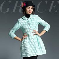 2014 fashion high quality classical relievo dot print slim trench