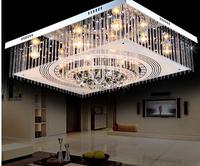 Crystal lamp living room lights rectangle led ceiling light living room lights modern brief lamps