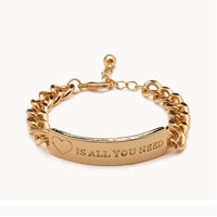 """""""IS ALL YOU NEED"""" Style 18K Gold Name Brand Jewelry Chain Bracelet High-Quality Free Shipping Best Price"""