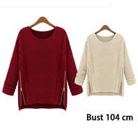 2014 New Fashion Casual Autumn Winter Knitted Sweater Women O-Neck Long Sleeve Women Loose Asymmetrical Pullover Brand Clothing