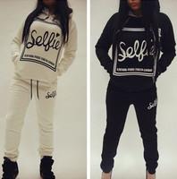 Women Sweatshirt Sellie Printed Sport Suit 2 Piece Set  Women Hoody And Sweatshirt New 2014 Autumn Thick Tracksuits