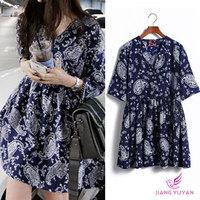 Free Shipping 2014 fashion women summer spring dress new women's models big yards short sleeve chiffon dress Floral Dress
