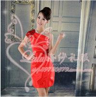 Red classic one shoulder bridal evening dress short vestidos