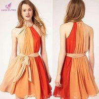 2014 Summer New European Style Bow Tie Tricolor Fight Halter Chiffon Dress Charming Women Empire Waist Cute Party Dress