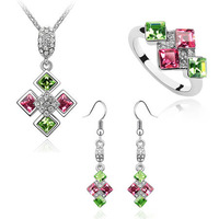 Wedding Bridal Jewelry Sets Austrian Crystal Geometric Squares Pendants Accessories Choker Necklaces Drop Dangle Earrings Rings