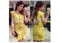 2014 hot women dress sexy perspective net yarn splicing flower bud silk dress