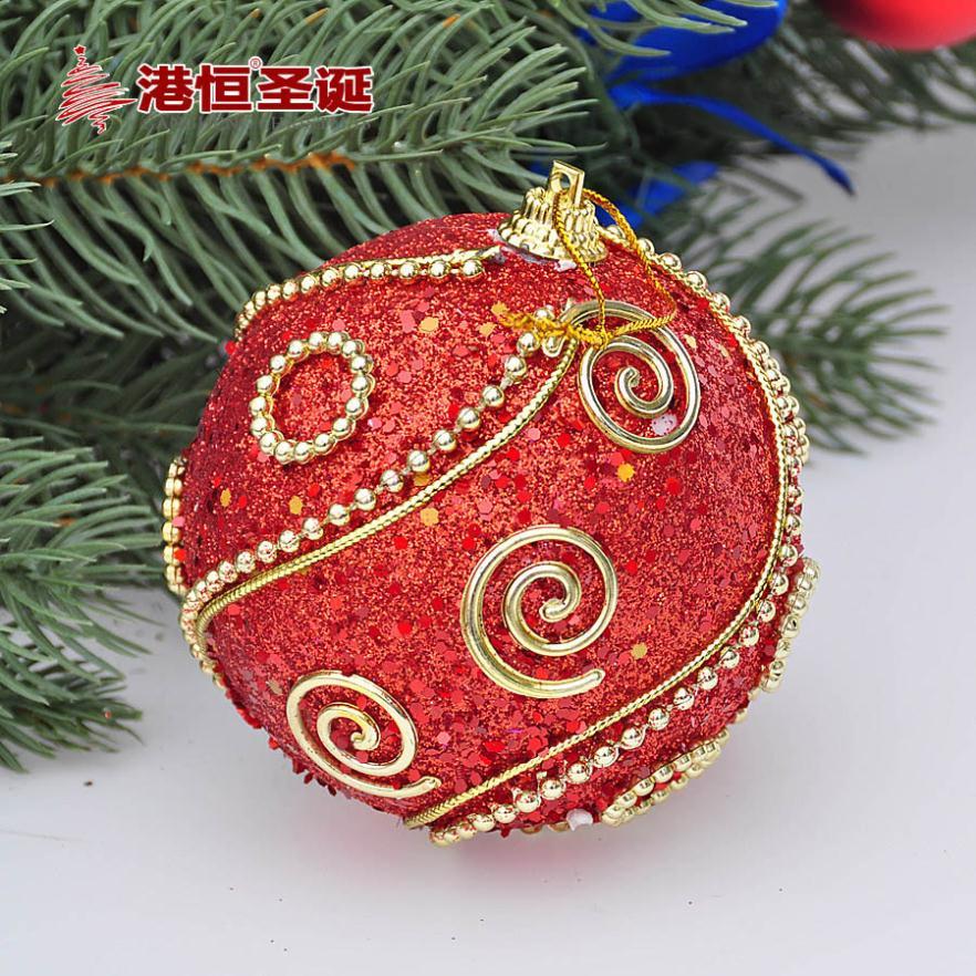Christmas tree ornaments 8cm red dress luxury sticky foam Christmas ball ornaments 24g(China (Mainland))