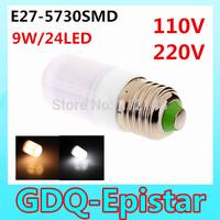 Free shipping 1pcs E27-9W-24LEDS- 5730SMD Waterproof Home Lighting LED Corn Bulb Light Lamp White/Warm White