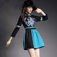 Free shipping winter of 2014 new elegant aristocratic lace stitching three-dimensional embroidered dress female Casual dresses