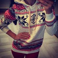 2014 Women Hoody Spring Autumn Sportwear Snowflake Print Fleece French Terry Sweatshirt Women casual Hoodies