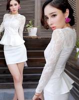 Autumn Korean long-sleeved lace dress temperament women party club waist was thin package hip one-piece dress