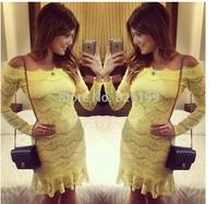 2014 yellow bud silk dress sexy fashion women led a word shoulder miniskirt