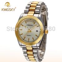 2014 New Relogio Feminino Auto Date Analog Clock Women Steel Quartz Gold Casual Fashion Watch Lady Women Wristwatch Kingsky Tag
