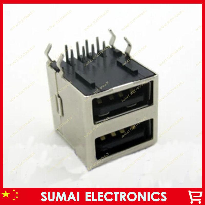complete shut-off double usb A type A/F female jackClubfoot 10pcs/lot Free shipping(China (Mainland))