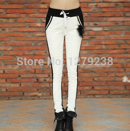 venda quente europeu 2014 coreano nova moda outono inverno mulheres quentes meados elástico cintura fina impermeável 90% pato branco para baixo calças(China (Mainland))