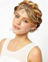 Bohemian Women's Peal Tassel Head Chain Jewelry Forehead Dance Headpiece Hair Band Hair Chains For Women