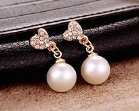 Fashion Lovely Full Rhinestone Heart Earrings Long Pearl Earrings For Women Earrings