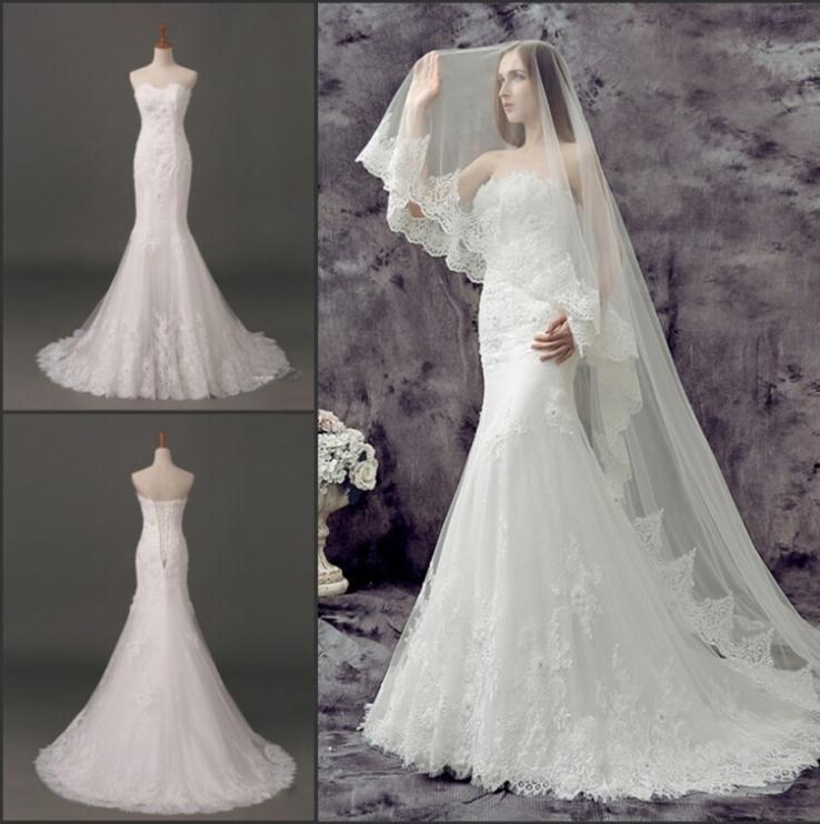 Na moda Romântico Casamento sereia do vestido de casamento de organza vestidos de noiva Real Photo Lace Wedding Dress NT -684(China (Mainland))