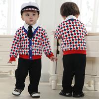 free ship!New Baby boys suits sets Gentleman modelling infant long sleeve climb clothes kids body suit Grid tie +Pants+hat 5 pcs