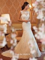 2015 Top High Lace Applique Beaded Scoop Neck Floor Length Sheath Chapel Length Train V Backless Ivory Wedding Dress