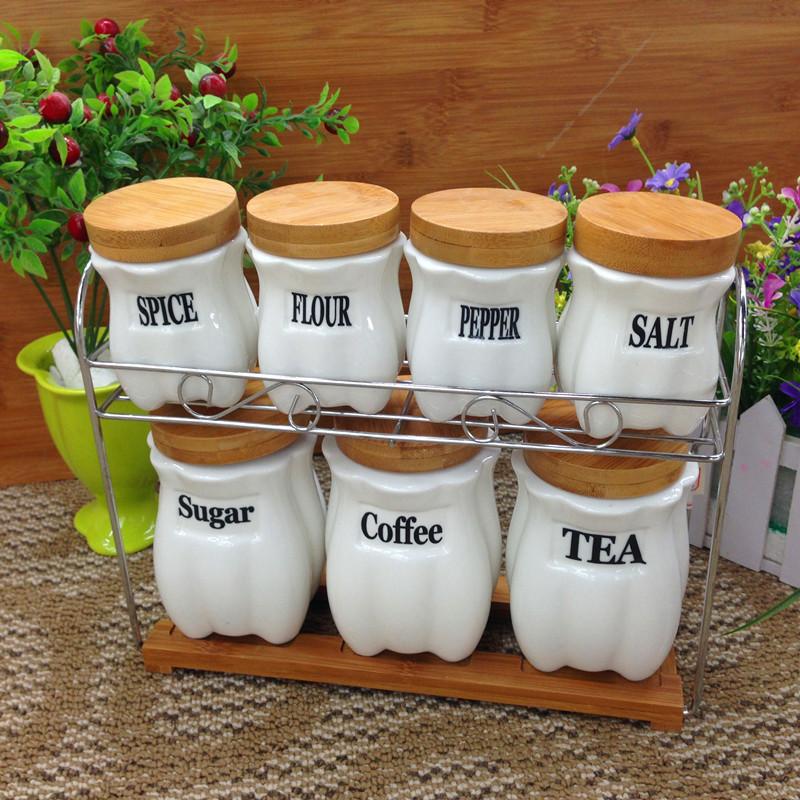 frete grátis tanque do selo francês cerâmica vasilha 7 família de quatro conjuntos de açucareiro conjunto jar spice latas de café(China (Mainland))