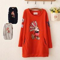 Women fashion Autumn/Winter fleece coat printing cartoon pullover hoodies
