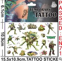 Hot Sale Boy's gift cartoon Teenage mutant ninja turtles tattoo stickers funny sticker, kids toy, Temporary Tattoos Stickers