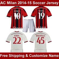 Wholesale-Retail Thai AC Milan 14 15 Soccer Jersey KAKA HONDA AC Milan Jersey, BALOTELLI Socer Shirt NIANG Football shirt