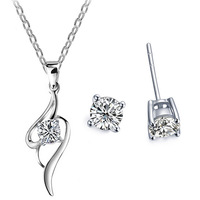 New 2014 Hot Selling Wholesale Silver Plated Crystal Pendant Necklace Stud Earring Fashion Jewelry Set For Women,TZ-1348