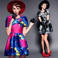 British Vintage Retro Style Printed Dress + Shawl, Women 2014 Winter/ Autumn Party Bud Above Knee Dress SML Blue BLK Vestidos