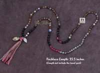 Exclusive 6MM Mixed Agate Long Tassel Beads Necklace Luxury Handmade Beaded Bohemia Women Necklace