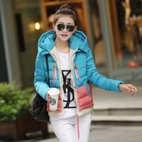 Korean Women's Hooded Jacket Fashion 2014 Winter New CONTRAST Color Eiderdown Cotton High Quality Warm Coat Light Paded XXL 055