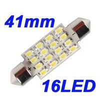 White 41mm Dome Door Festoon 16 LED 1210 3528 SMD Car Interior Light Lamp Bulb 12V